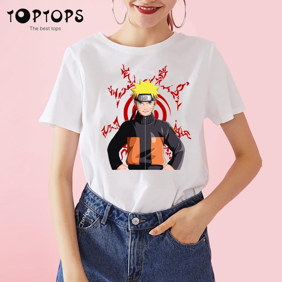 Camiseta de algodón divertida de Naruto para mujer, camiseta Unisex de Skateboard para Navidad, ropa femenina para chica, camiseta Streewear