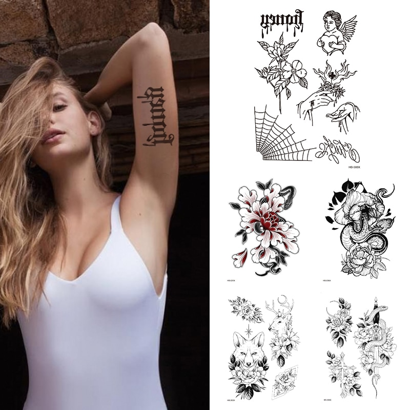 Tatuaje de flor temporal impermeable de araña de Ángel 1 hoja tatuaje de moda para mujeres tatuaje falso de manga de brazo para niñas niños