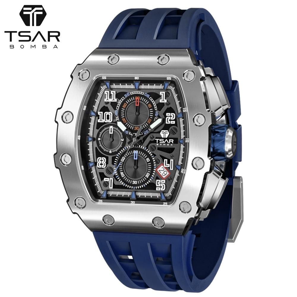 TSAR بومبا ساعة للرجال ماركة فاخرة Tonneau تصميم 50 متر مقاوم للماء الفولاذ المقاوم للصدأ ساعة اليد الرياضة كرونوغراف أنيق هدية