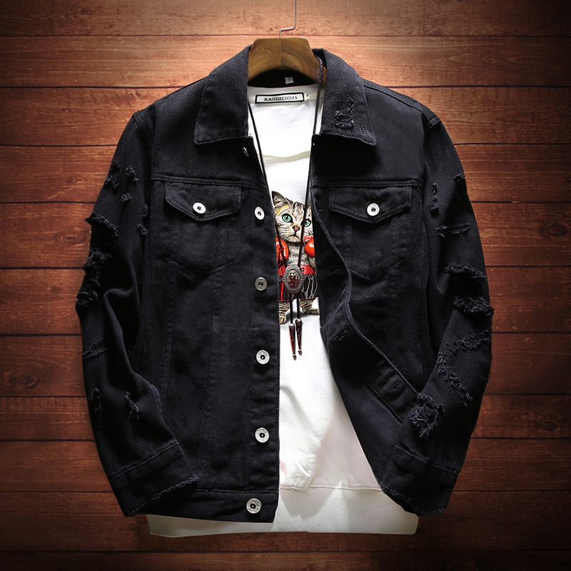 Bomber Thin Ripped Denim Jacket Male Cowboy Jeans jackets Spring Autumn Mens  Trendy Fashion dimusi spring autumn mens denim jacket mens trendy fashion bomber thin ripped denim jacket male cowboy jeans jackets 4xl ta341