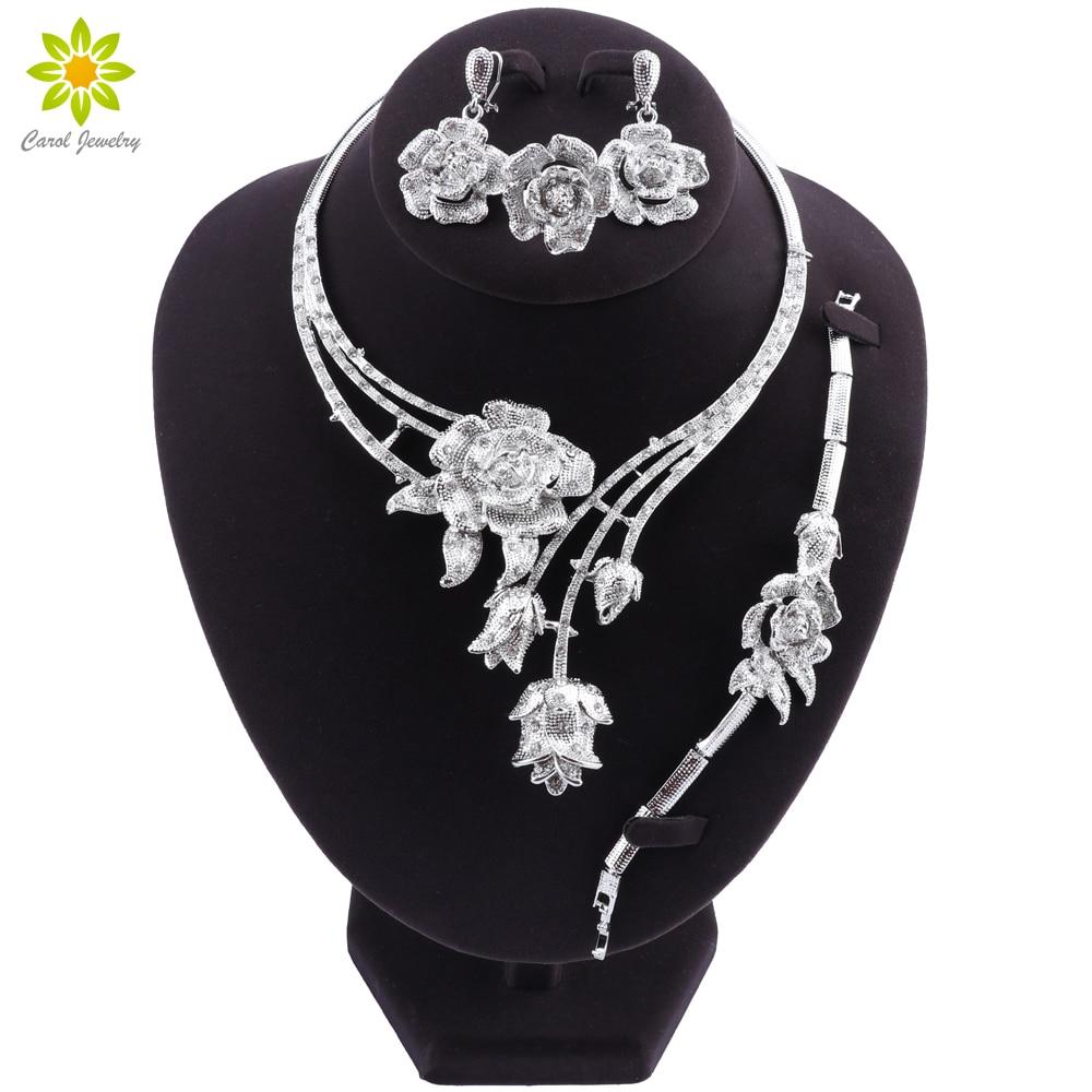 Fashion Women Silver Plated Jewelry Set Dubai Bridal Wedding Necklace Earrings Ring Braceket Jewelry Women Nigeria Jewelry Sets