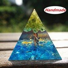 50MM Orgone pyramide péridot Cristal arbre de vie bleu Cristal fil de cuivre Reiki énergie guérison Cristal Orgonite EMF Protection