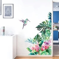 tropical leaves flower and bird wall stickers room decor living room mural for home decorative stickers removable stickers