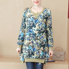 Wywan 가을 기모노 여성 t 셔츠 패션 큰 크기 여성 코 튼 탑 인쇄 여성 느슨한 blusas camisa mujer L-5XL