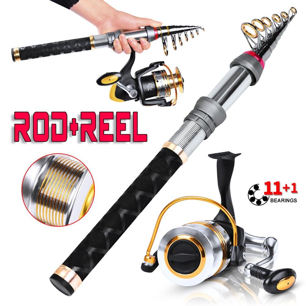 Caña de pescar + carrete de pesca + juego de sedal de pesca caña telescópica aparejo de pesca mano de obra exquisita y larga vida útil