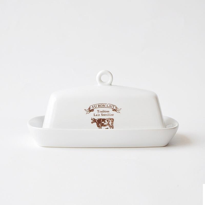 النمط الشمالي الرجعية البقرة نمط طبق الزبدة السيراميك مع غطاء طبق وجبة خفيفة طبق الزبدة