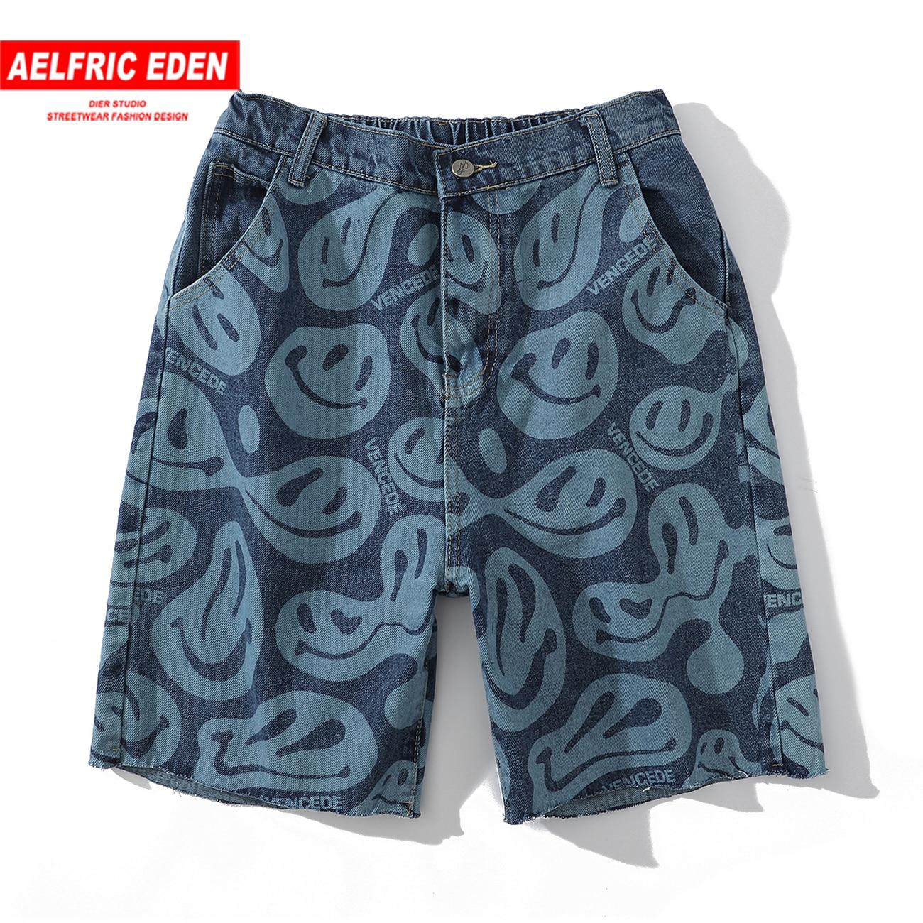 Aelfric Eden 2020 Summer Men Shorts Smile Print Hip Hop Casual Pants Streetwear Joggers Sweatpants Cotton Fashion Cargo Pants