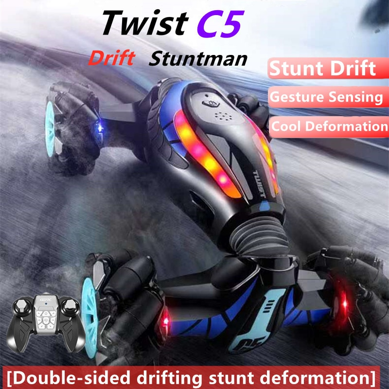 Double-Sided Tumbling Drifting Remote Control Stunt Car Watch 120M One-Click Deformation Gravity Sensor RC Toy With Light Music
