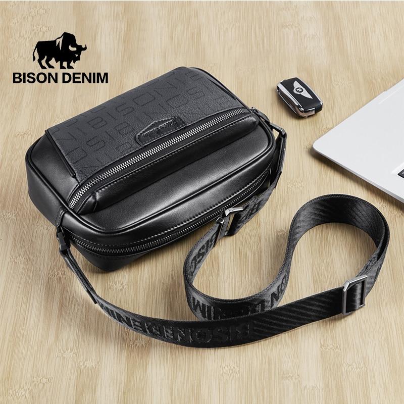 بيسون الدينيم حقيبة الكتف للرجال موضة عبر الجسم حقيبة صغيرة حقيبة ساع الرجال حقائب السفر الهاتف حافظة نقود N20158-1B