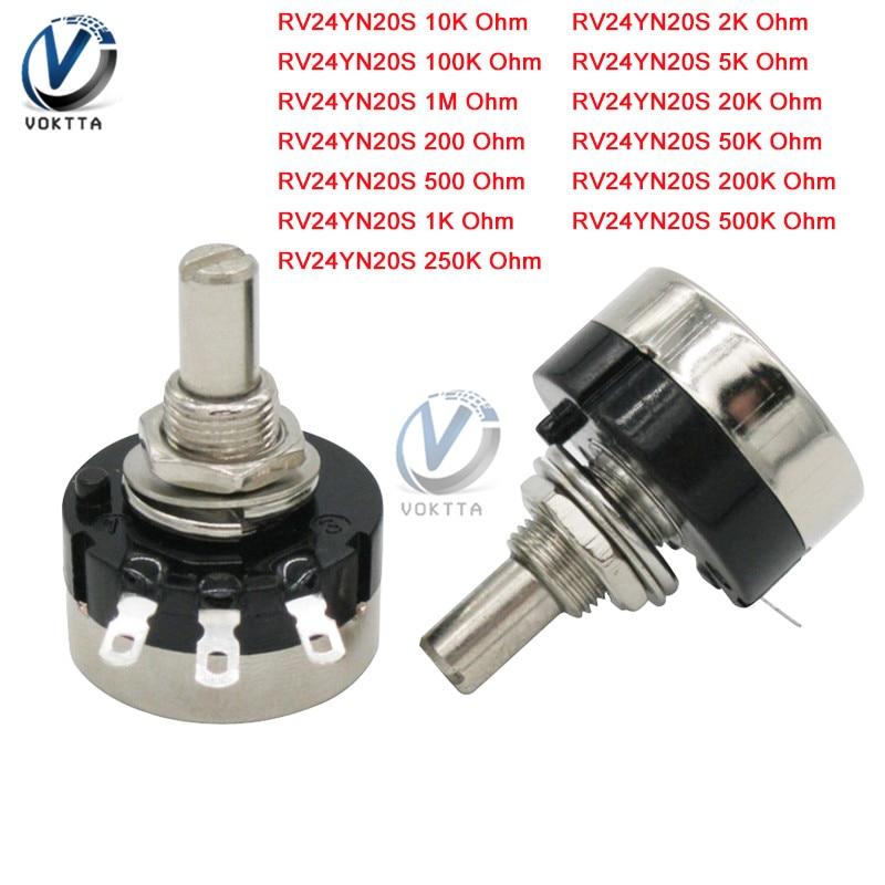 1 piezas RV24YN20 B105 B504 B204 B104 B503 B203 B103 B502 B202 B102 1M 500K 200K 100K 50K 20K 10K 5K 2K 1K Ohm interruptor potenciómetro