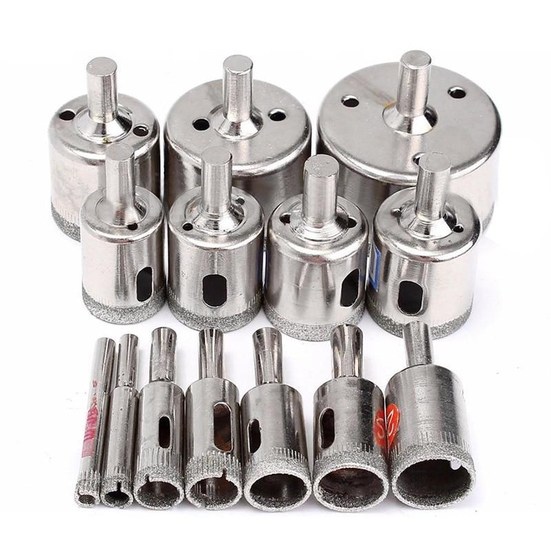 HLZS-15pcs herramienta de diamante broca perforadora Sierra set para vidrio cerámica mármol 6mm-50mm nuevo
