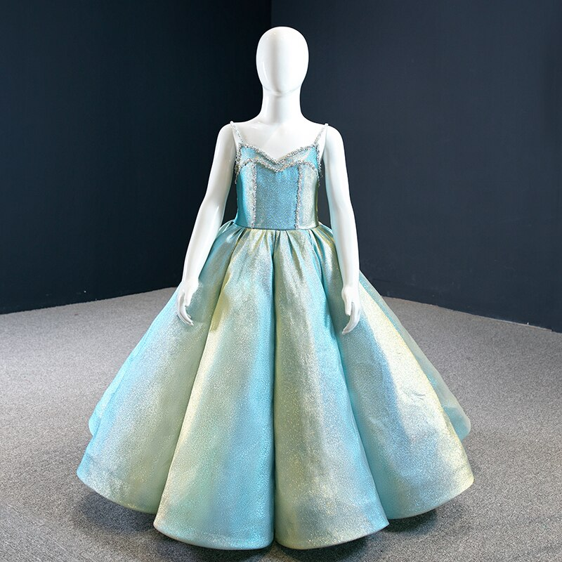 J67128K فستان زفاف بناتي ، زهور ، مطوي ، كريستال ، ياقة على شكل V ، ثوب الكرة للأطفال ، Suknia Balowa Dla Dziewcz
