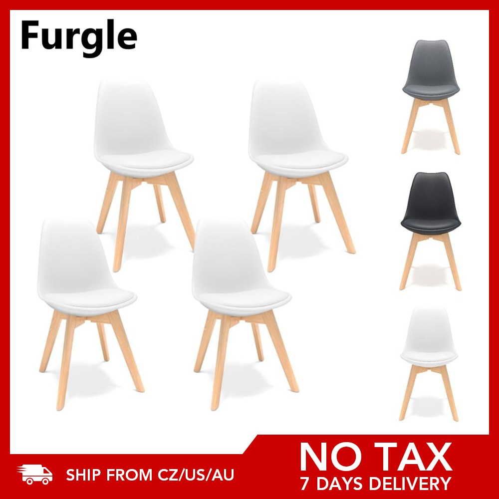Furgle 4Pcs/Set Dining Chair Scandinavian Design Coffee Chairs with Solid Wood Leg Cushions Desk Chairs for Kitchen Dining Room