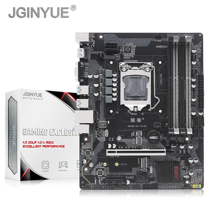 JGINYUE H97 اللوحة LGA 1150 دعم إنتل كور بنتيوم سيون المعالج DDR3 غير ECC ذاكرة عشوائية مع WIFI جاك H97M-VH زائد