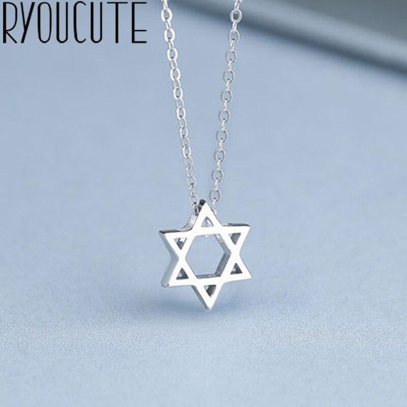 Moda prata cor david estrela colares para mulheres longos colares de jóias de natal colar por atacado