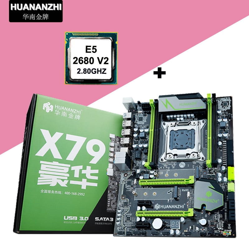 HUANANZHI X79 سوبر اللوحة وحدة المعالجة المركزية كومبو لتقوم بها بنفسك الكمبيوتر المزدوج M.2 SSD فتحات زيون المعالج E5 2680 V2 10 النوى 2 سنة الضمان