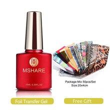 MSHARE feuille transfert Gel ensemble ongles transfert adhésif avec feuille libre autocollant 50pcs