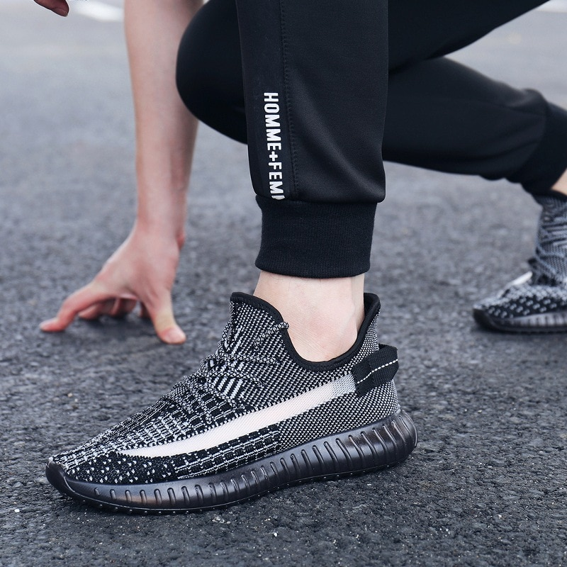 kids sneaker teenage sport white shoes male angel reflective flying woven shoes men's breathable casual sneakers men enlarge