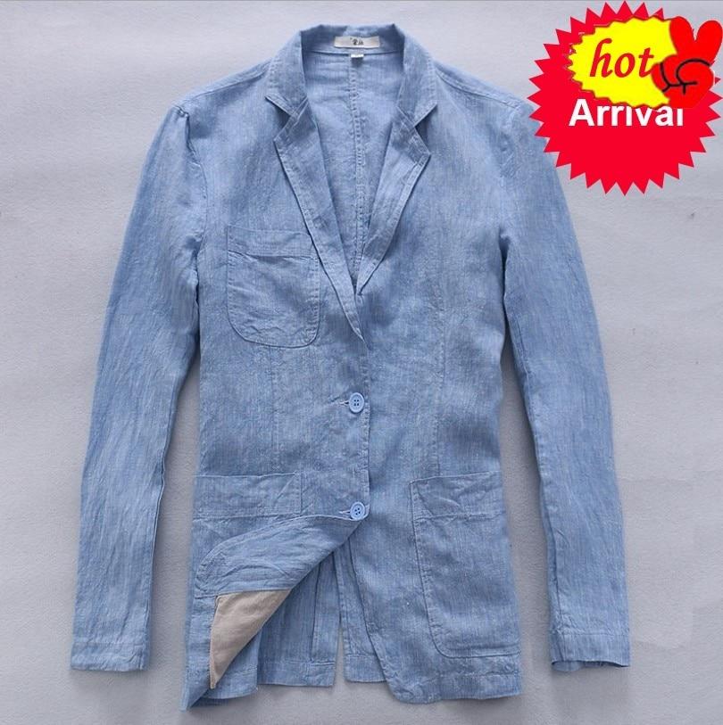 Chaqueta de lino Italia de Otoño de manga larga de lino para hombre, chaqueta de moda sólida para hombre, chaqueta informal de negocios masculina