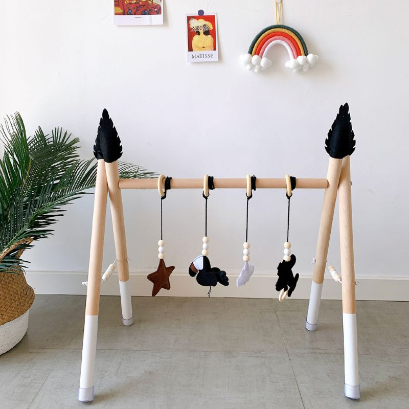 1Set Nordic Style Baby Gym Play Nursery Sensory Ring-pull Toy Wooden Frame Infant Room Toddler Clothes Rack Gift Kids Room Decor enlarge