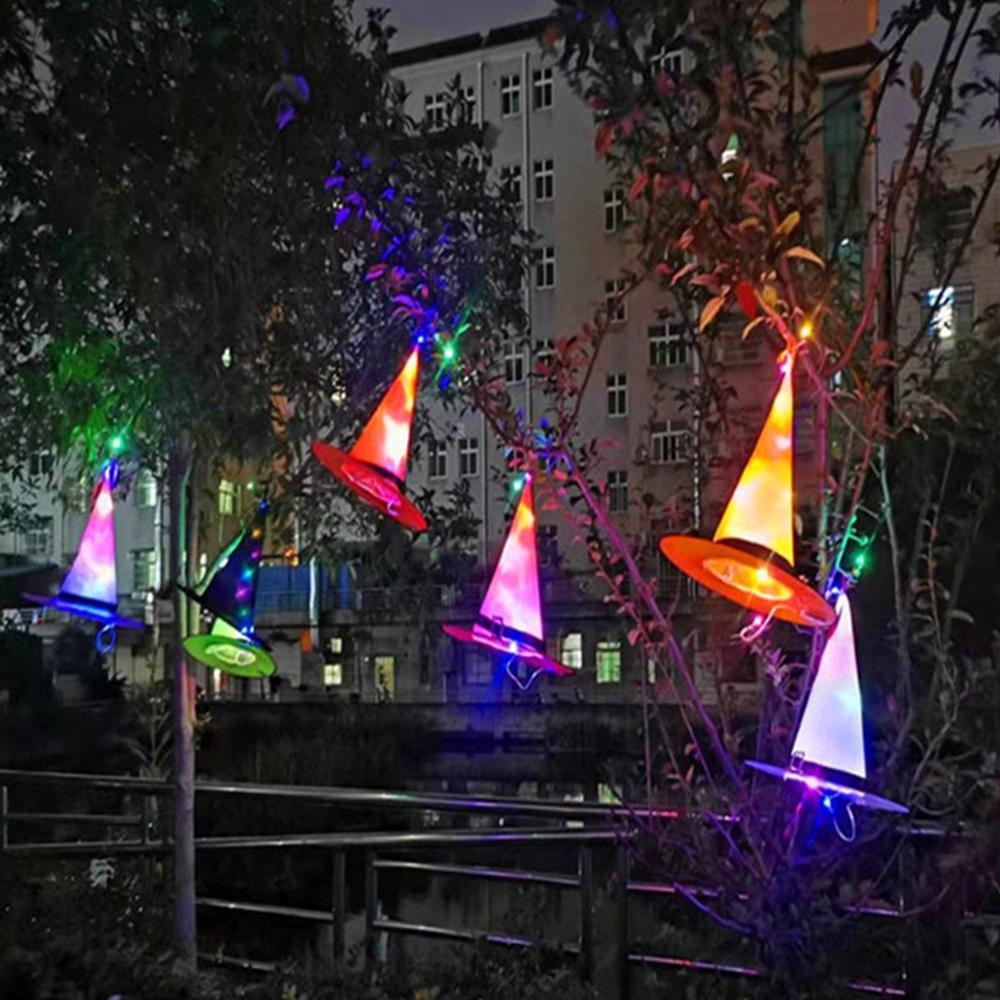 Halloween bruxa chapéu feiticeiro luzes led chapéu festival ao ar livre lanterna led crianças adulto festa de formatura vestir-se bruxa chapéu