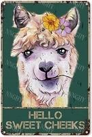Citation drole de salle de bain en metal  signe en etain  decor mural Vintage Hello Sweet Cheeks  alpaga avec fleurs  signe en etain