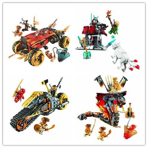 Novo em estoque novo ninja modelo conjunto compatível com lepining 70672 70673 70674 70675 ninjago série tijolos de construção conjunto brinquedos presente