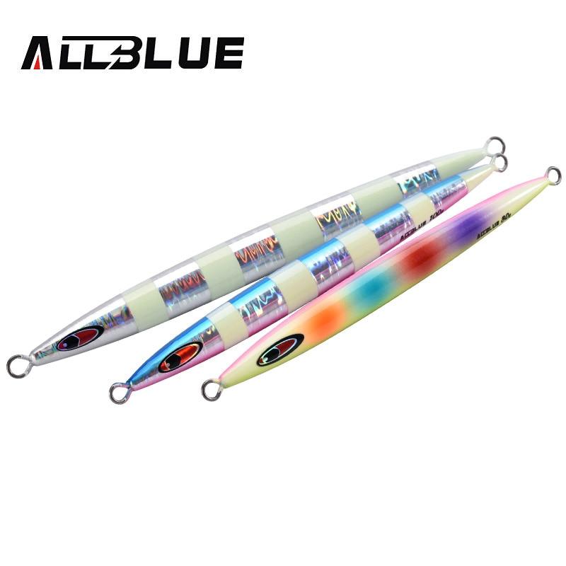 ALLBLUE-cuchara de Metal para Jigging, cebo Artificial de 80g, 100g y 150g, señuelo para pesca rápida fuera de la costa, aparejo de pesca de plomo superduro vertical