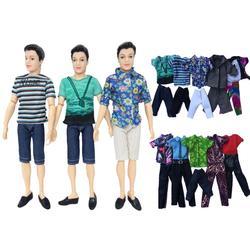 Boneco ken com calças roupas jaqueta 5 conjuntos, casual, roupa da moda, acessórios para barbie ken bonecos presente das crianças aleatório estilo