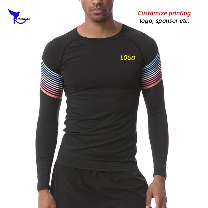 Personalize o logotipo dos homens de fitness manga longa rashguard t camisa de compressão musculação elástico ginásio esportes correndo topos roupas