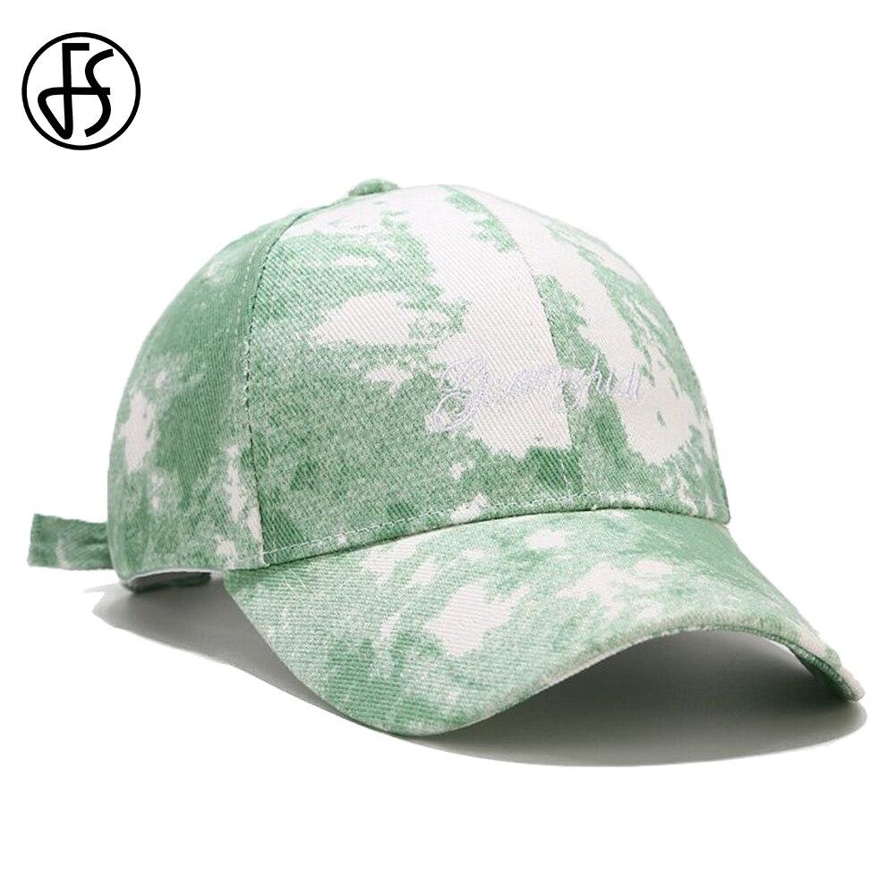 FS nueva tendencia de verano Hip Hop cara Gorras para hombres Tie-dye verde rojo alfabeto béisbol sombrero mujeres Streetwear camionero Gorras Hombre
