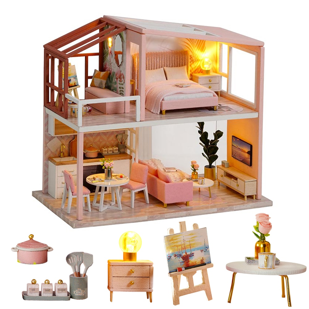 the old mahogany wood wooden stick slip crutches leading the elderly birthday gift cane wooden crutch Kids Toys Dollhouse DIY Assemble Wooden Doll House With Furniture The Nordic Apartment Puzzle Toy For Birthday Gift QL003