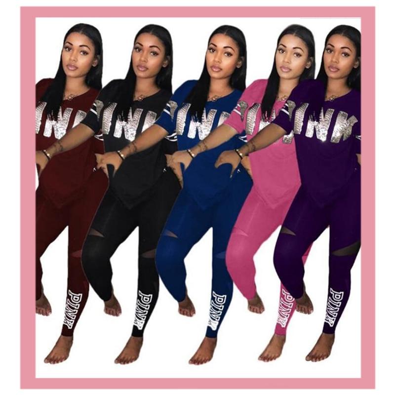 Carta rosa imprimir esportes terno superior e calças compridas roupas combinando agasalho macacão 2 peça define feminino verão roupas tamanhos grandes