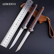 AIBODUO flipper pli couteau M390 lame point de chute sauvetage 58HRC poignée couteaux en plein air camping chasse couteau tranchage fruits couteaux