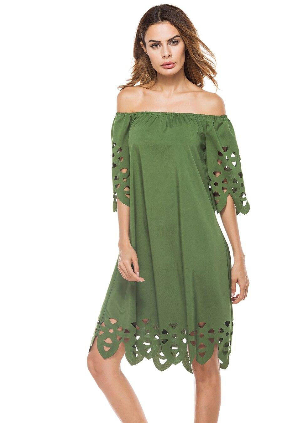 shoulderless One-line neck tube top hollow sexy burnt flower dress enlarge
