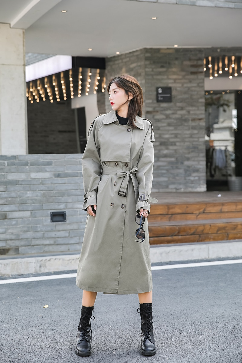 Women's Korean-Style Turn-down Collar Solid Color Windbreaker Chic Long  Double Breasted Trench Coat
