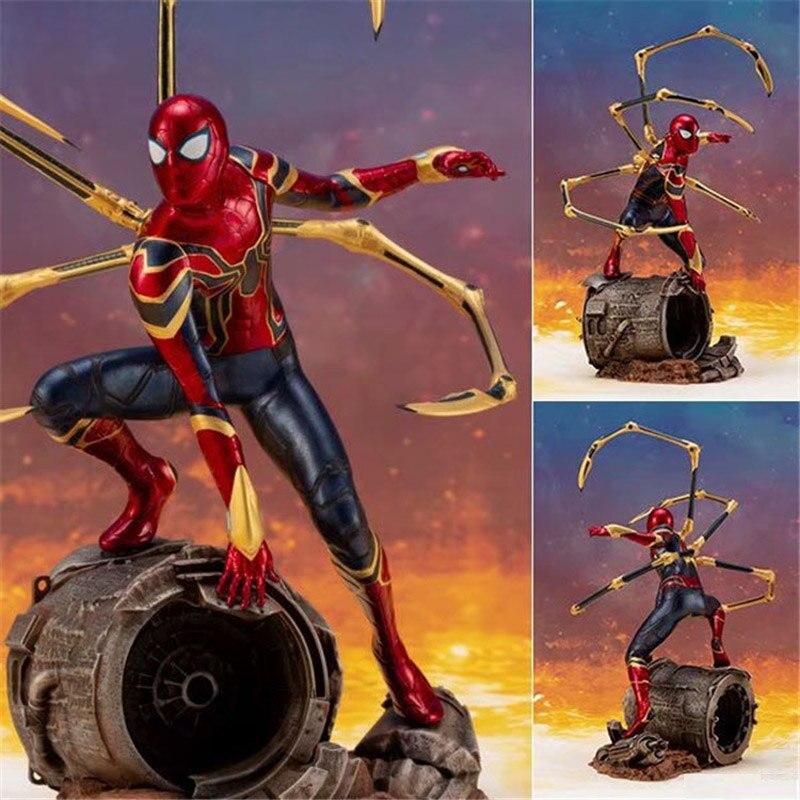 Figuras de película de 16cm de Estados Unidos ARTFX + Infinity war hierro araña spiderman superhéroe figura de Anime modelo PVC juguetes figura coleccionable