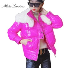 Women Down Cotton-Padded Coat 2020 Loose Korean Style Fur Collar Bread Overcoat Glossy Bright Candy