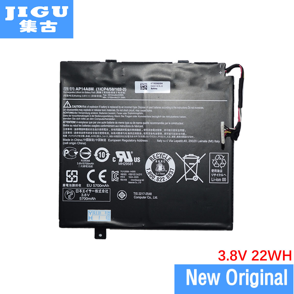 JIGU-بطارية كمبيوتر محمول أصلية 1ICP4/58/102-2 AP14A8M ، لأجهزة Acer و Aspire Switch 10 10E 11 11V