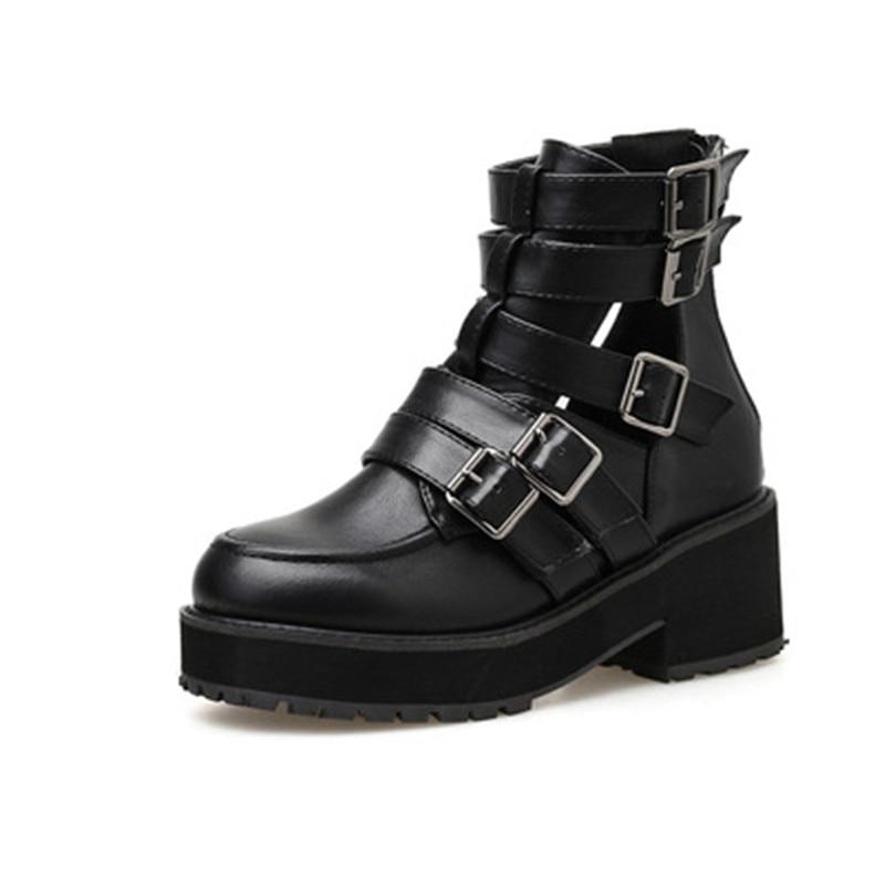 Women Ankle Boots Black Leather Autumn Motorcycle Non-slip Waterproof Female Platform Boots Women Shoes