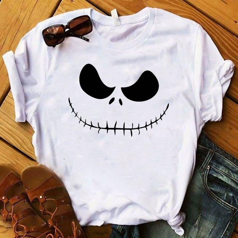 Las mujeres de Halloween camiseta sólo miedo lindo de manga corta impresa feliz Halloween mujer camiseta mujer gráfico camisetas de mujer