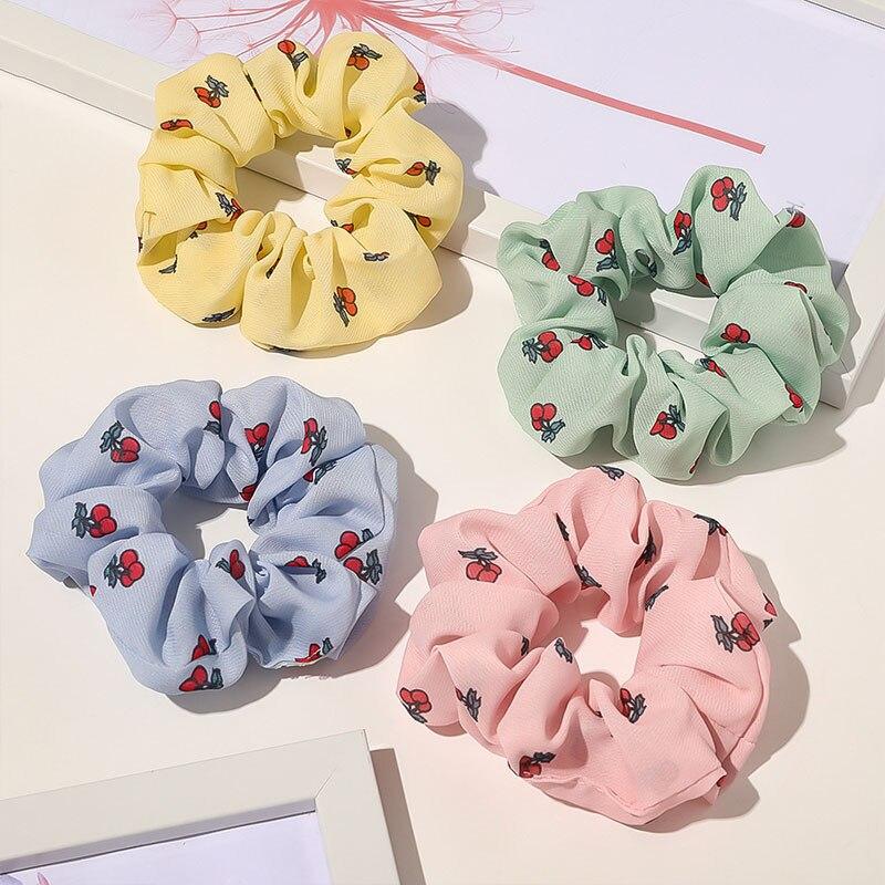 Sweet Floral Scrunchies anillo de pelo helado de impresión banda de goma cuerda del pelo Estampado de cereza bandas elásticas para pelo Scrunchie coleta