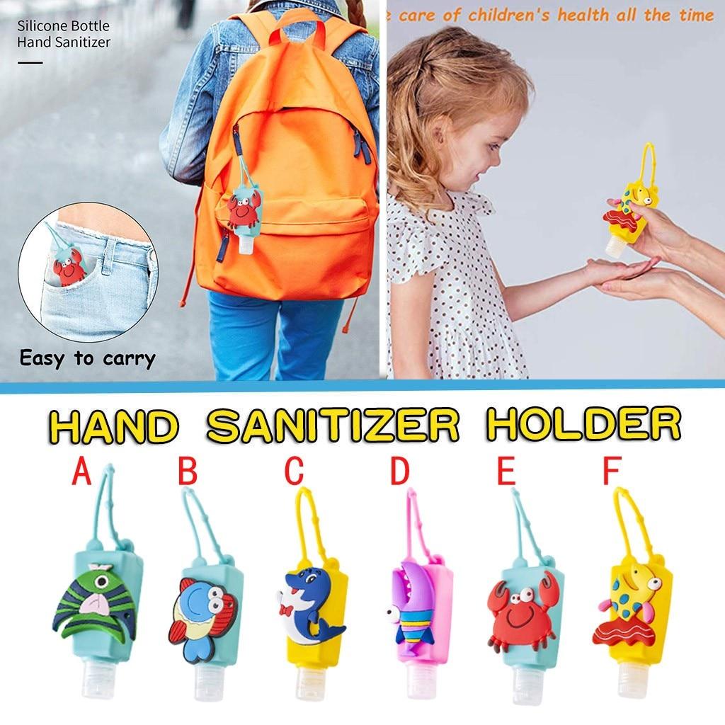 1 Uds botella para niños desinfectante de dibujos animados sin agua desinfectante para manos 30ML funda de silicona llavero pulsera dispensador de mano # CM