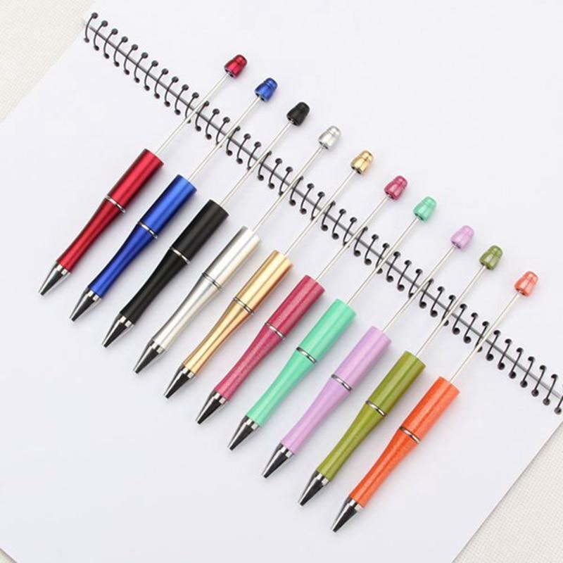 50 Uds. Bolígrafos de plástico de colores mezclados con cuentas bolígrafos regalo de bolígrafos de punta redonda bolígrafo Kidsparty regalo personalizado boda regalo para el invitado