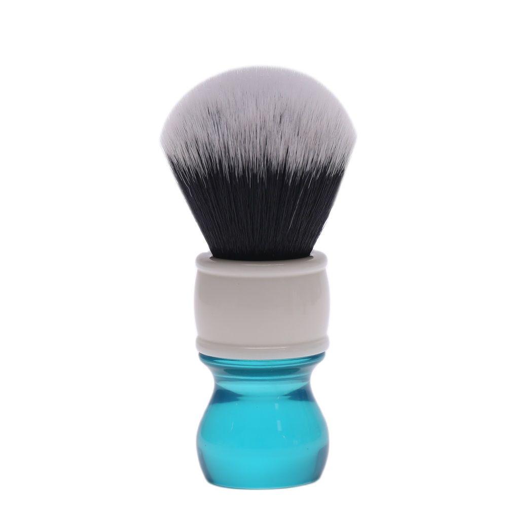 yaqi 24mm moka express synthetic hair shaving brush Yaqi 24mm Aqua Tuxedo Synthetic Hair Shaving Brush