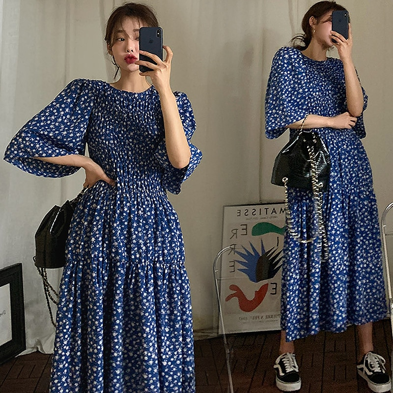Hot Summer Dress for Women New Chic Fashion Print Floral O-neck Loose Pleated Deep Blue Comfort Long Vintage