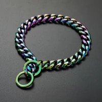 18k colorful plated stainless steel dog collar and leash choke chain for large dogs pitbull rottweiler pet stuff accessories
