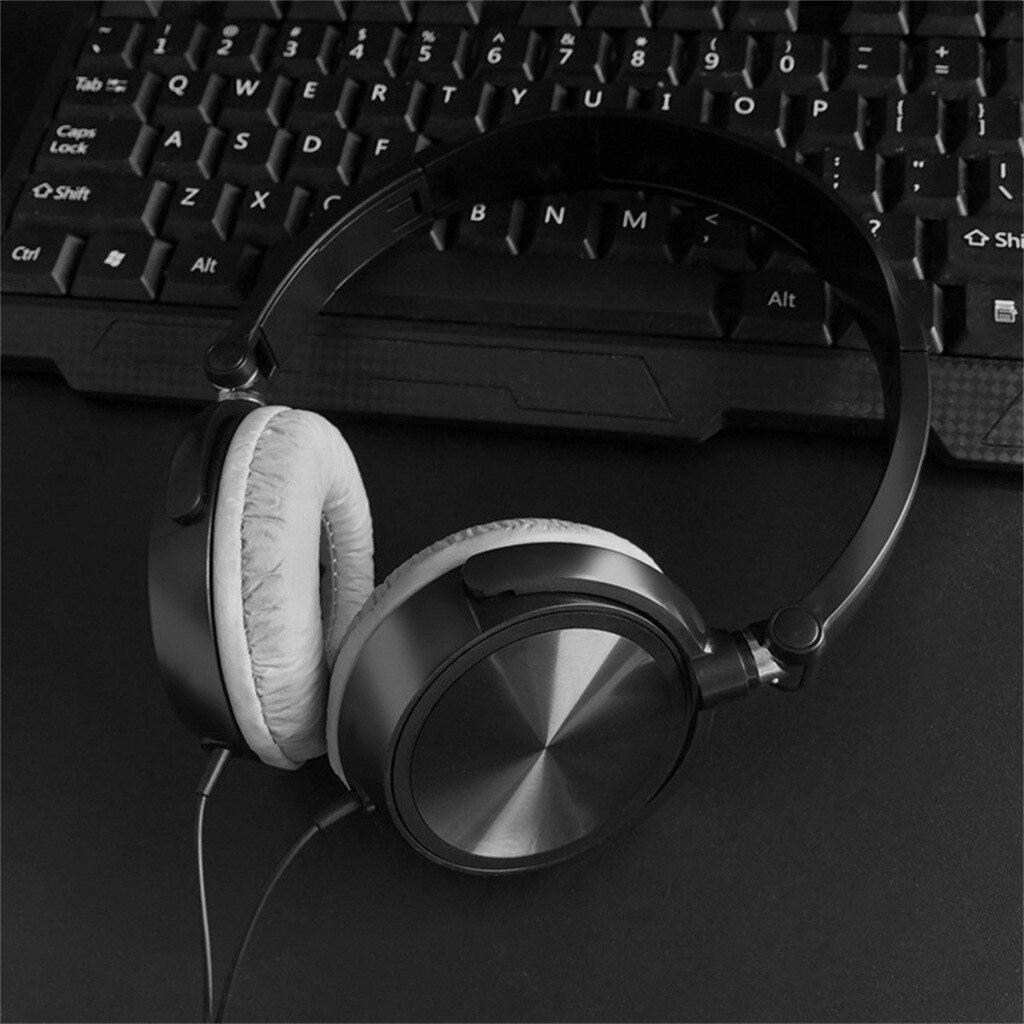 Fone de ouvido gamer para dj com microfone, 3.5mm, estéreo, dobrável, com fio sobre a orelha