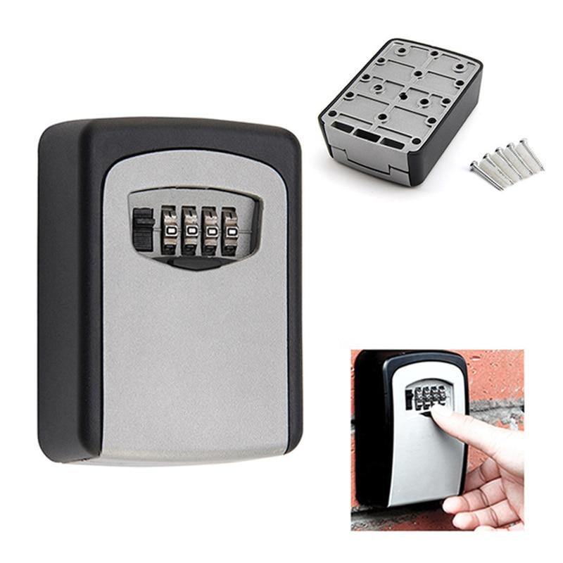 Fácil operación de moda útil Uso de 4 dígitos Contraseña de aleación al aire libre candado clave seguridad organizador pared colgante caja de almacenamiento