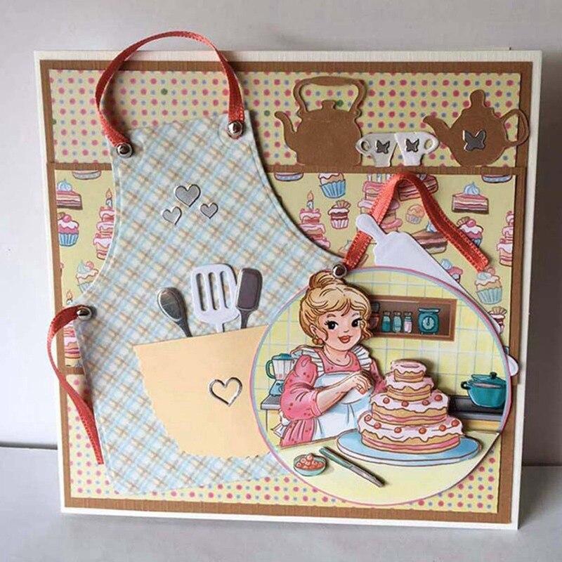 Troqueles de corte de Metal delantal de cocina corte papel de álbum de recortes artesanía hecha a mano tarjeta punzón arte cortador decorativo
